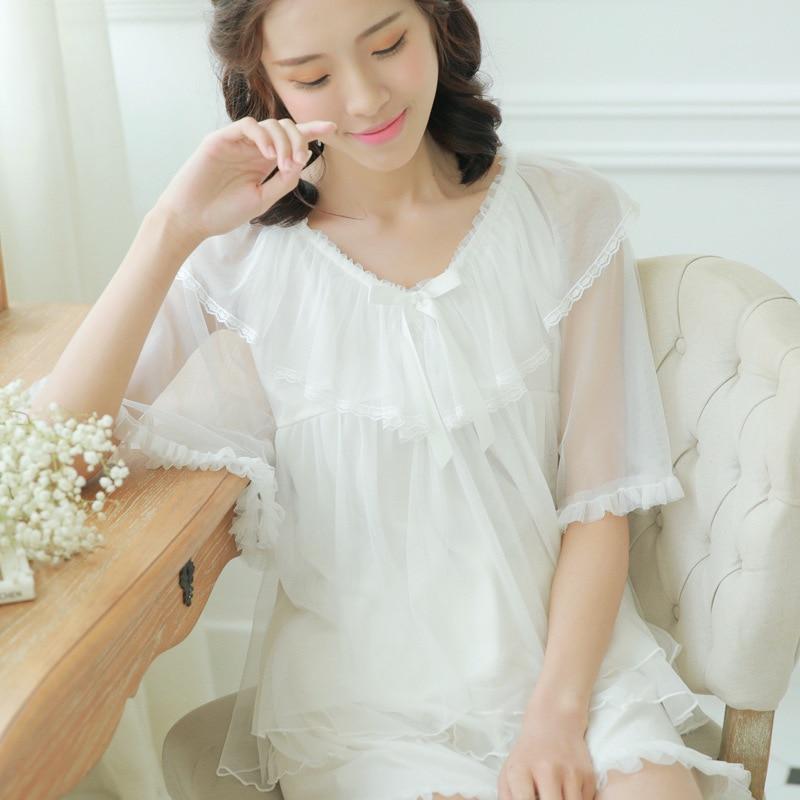 Women Summer Casual Breathable Gauze cotton Princess   Pajamas     set   lady Piyama leisurewear Tops and Pants Sleepwear   Set   TG1770