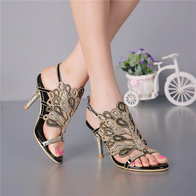 Sandales En Or Sandale Femmes Discount Argent Stiletto De Violet Diamant Mesdames D'été Bohème Strass Noir Chaussures Sexy Cuir 68I7qg