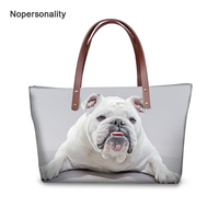 Nopersonality Cute French Bulldog Prints Women Handbags Casual Ladies Beach Shoulder Bags Large Leather Tote Bags bolso mujer