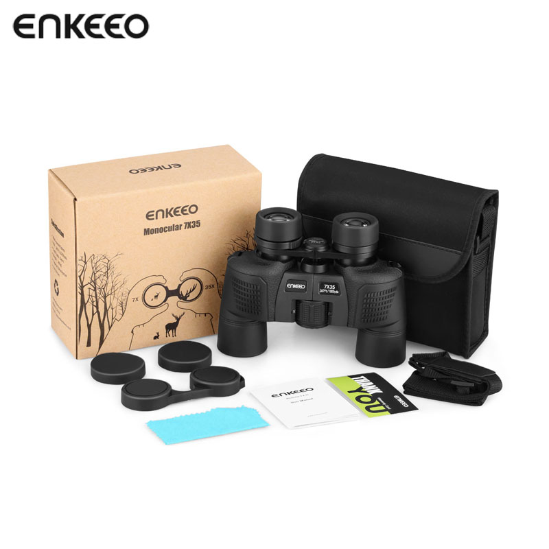 Enkeeo 7x35 Compact Porro Prism Binocular Fully Multi-Coated Lens Shockproof Nonslip Grips for Hunting Birding Wildlife Viewing 6x30mm compact porro prism fogproof monocular