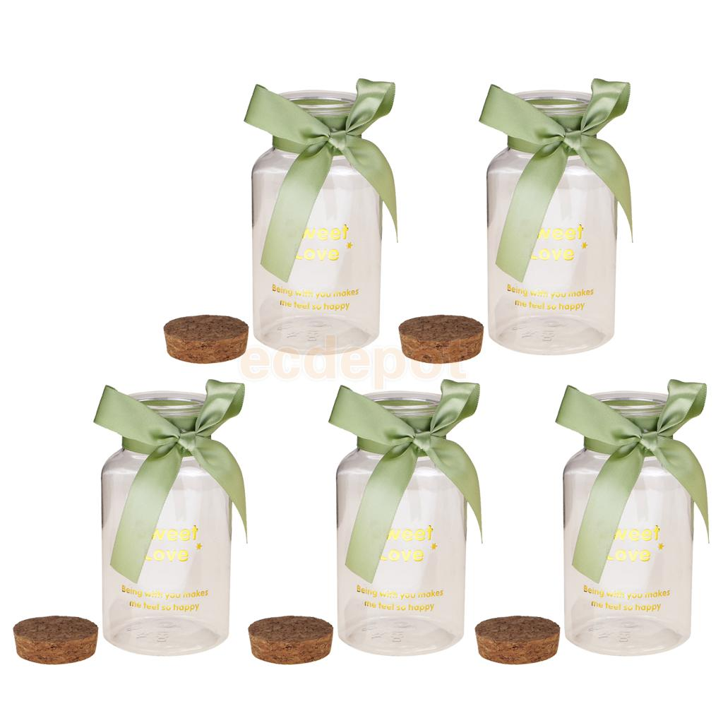 5pcs 12cm Plastic Candy Jars Cork Bottles Bowknot Wedding Shower ...