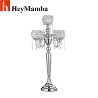 Wholesale 5 Head Vintage Candelabras Gold Plated Crystal Table Candle Holder Stand For Home Hotel Wedding
