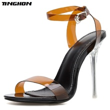 TINGHON New Fashion Sexy Shallow Thin Hight Heel Womens Sandals Shoes Wear For Dress Mixed Color Buckle Stap Women