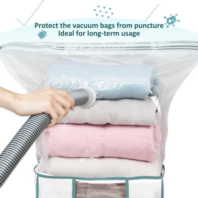 Caixa de armazenamento dobrável taili para roupas/travesseiro/colchas/organizador de edredon construído no saco de vácuo umidade & inseto prova para economizar espaço