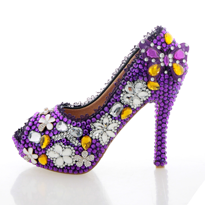 por purple rhinestone high heels cheap