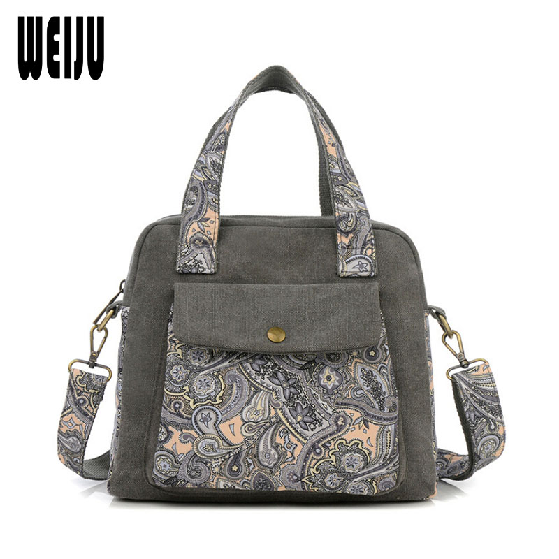 WEIJU New National Messenger Bags For Women 2017 Canvas Shoulder Bag Small Casual Crossbody Bag Woman Bolsa Feminina new woman shoulder bags cute canvas women big bags literature and art cartoon girls small fresh bags casual tote