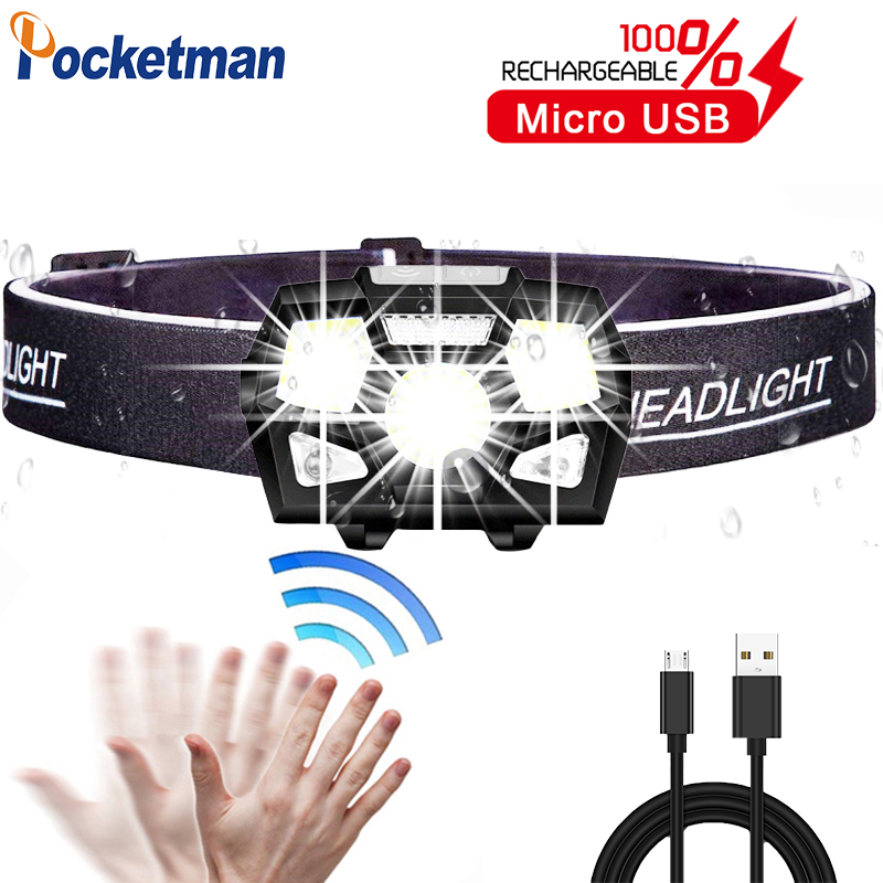 Powerfull  LED Headlamp Motion Sensor Ultra Bright Hard Hat Head Lamp Powerful Headlight USB Rechargeable Waterproof Flashlight
