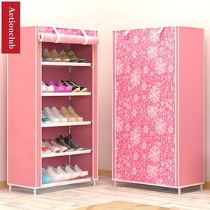 Image 2 - Actionclub sześć warstw włóknina przechowywanie szafka na buty pyłoszczelna półka na buty DIY półki do oszczędzenia miejsca Organizer na obuwie półka