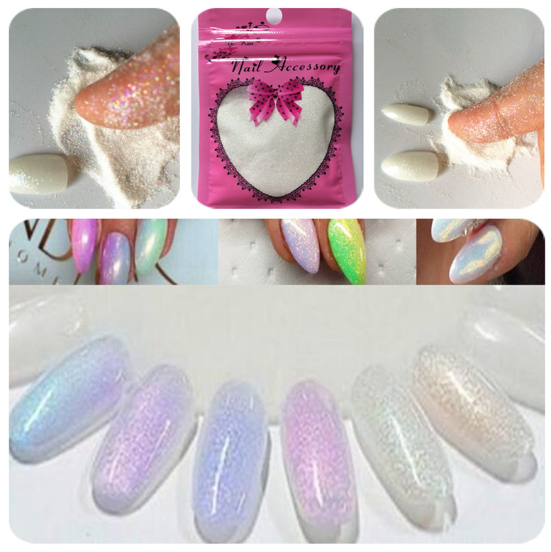New Mermaid Magic Effect Glitter Powder 10g / bag Laser Silver White ...