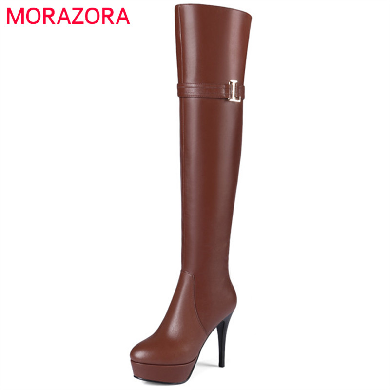 MORAZORA Genuine leather + microfiber thin heels shoes woman over the keek boots in autumn winter zipper platform fashion boots