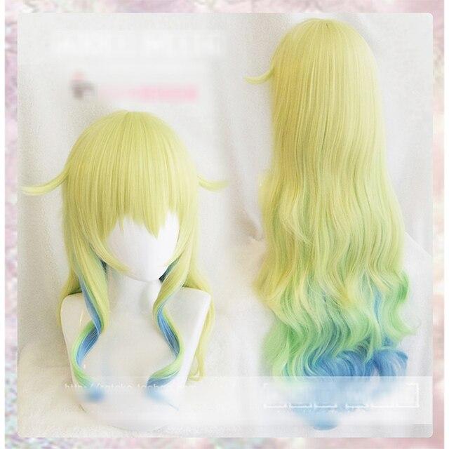 Косплей парик Miss Kobayashis Dragon Maid, длинные волнистые синтетические волосы, Термостойкое волокно + шапочка для парика, 80 см