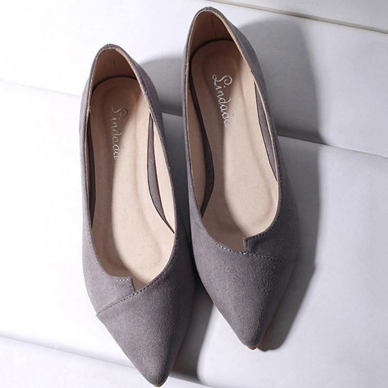 2018 New Women Flat Shoes Fashion Suede Shoes Ladies Pointed Toe Ballet Slip Shallow Mouth Flat Shoes стоимость