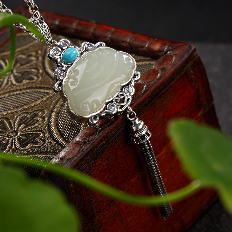 Silver S925 Pure Silver Retro Natural Hetian Jade White Jade Mosaic Turquoise Tassel Female High-end Pendant Wholesale s925 pure silver personality female models new beeswax