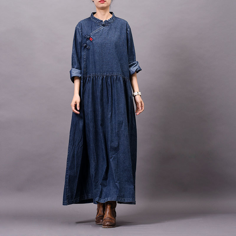 Johnature Women Vintage Denim Dress Button Embroidery Robes 2019 Spring New Stand Long Sleeve Button Blue