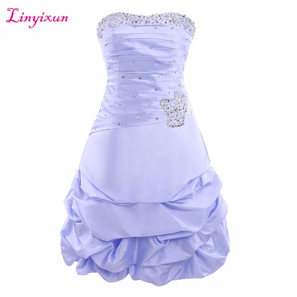 Linyixun Real Photo High 2017 Sweetheart Cute Pretty Ruffles Taffeta Short   Prom     Dresses   Junior Evening   Dress   Homecoming   Dress