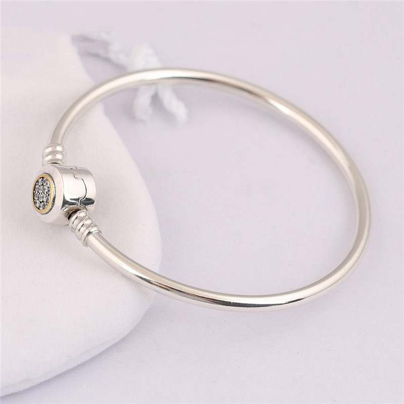 Trendy 100 Authentic 925 Sterling Silver Bead Charm Bracelet Fit Original Pans Bangle For Women Fashion DIY Jewelry Gift in Bangles from Jewelry Accessories