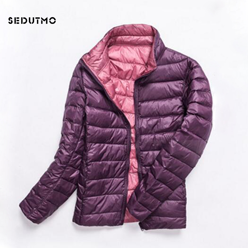SEDUTMO Winter Plus Size 3XL Womens Down Coat Ultra Light Duck Down Jacket Autumn Slim Short Puffer Jacket ED322