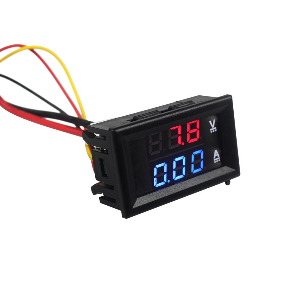 цена на 1Pcs Top Quality DC 100V 10A Voltmeter Ammeter Blue + Red LED Amp Dual Digital Volt Meter Gauge