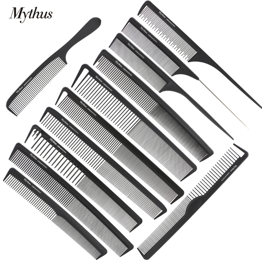 Mythus 12 Designs Profesjonell Varmebestandig Antistatisk Carbon Hairdressing Comb Set Barber Haircut Kam For Hair Styling Tools