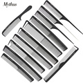 Mythus 12 Designs Professional Heat Resistant Antistatic Carbon Hairdressing Comb Set Barber Haircut Comb For Hair Styling Tools