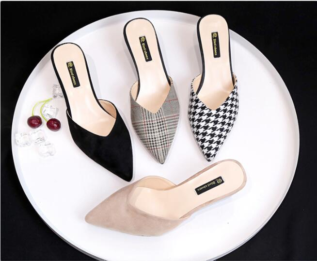 Fashion Mules Women Slippers Med Heel Sandals Summer Slip On Slides Laid Shoe Women Casual Outdoor Slipper