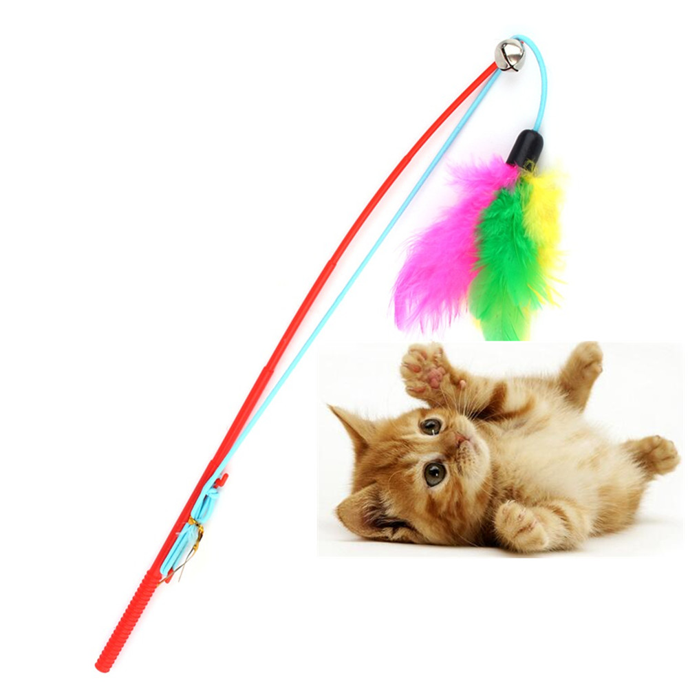 top quality pet cat toy cute design bird feather teaser wand plastic toy for cats color multi. Black Bedroom Furniture Sets. Home Design Ideas