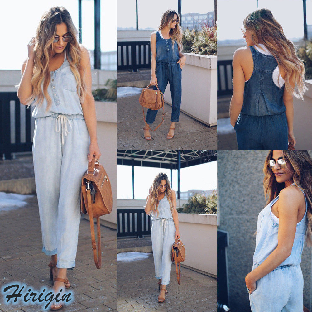 Summer   Jumpsuits   HOT Women Summer Casual Soft Denim Sleeveless O-Neck Lace Up High Waist Overalls Straps   Jumpsuit