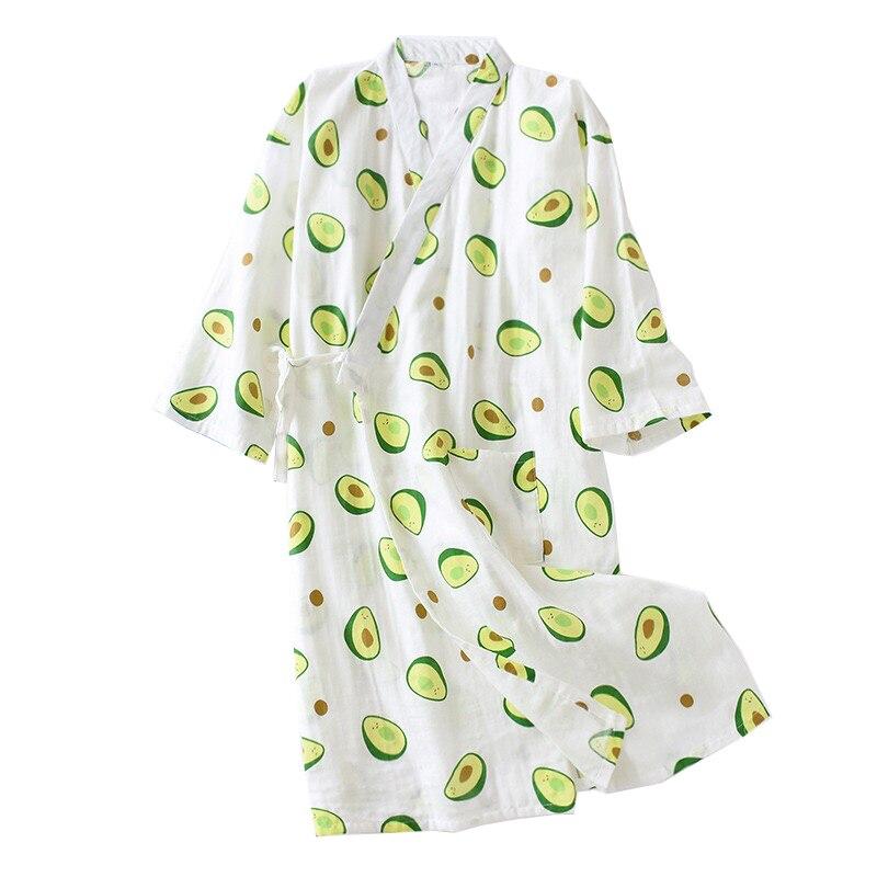 Fresh And Nature Women Nightgown Avocado Printed Summer Comfort Gauze Cotton Sleepwear Kimono Bathrobe Loose Thin Female Homewea