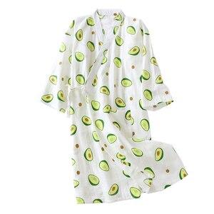 Image 1 - Frische Und Natur Frauen Nachthemd Avocado Gedruckt Sommer Komfort Gaze Baumwolle Nachtwäsche Kimono Bademantel Lose Dünne Weibliche Homewea