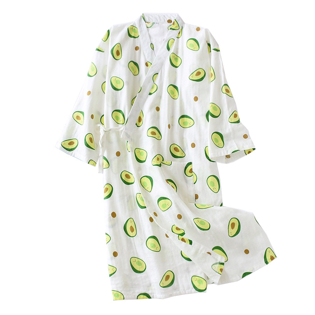 Frische Und Natur Frauen Nachthemd Avocado Gedruckt Sommer Komfort Gaze Baumwolle Nachtwäsche Kimono Bademantel Lose Dünne Weibliche Homewea