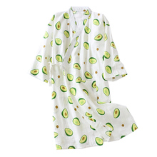 Tươi Và Thiên Nhiên Nữ Váy Ngủ Bơ In Hình Mùa Hè Thoải Mái Gạc Cotton Đồ Ngủ Kimono Áo Choàng Tắm Mỏng Rộng Nữ Homewea