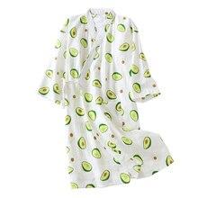 Verse En Natuur Vrouwen Nachtjapon Avocado Gedrukt Zomer Comfort Gaas Katoen Nachtkleding Kimono Badjas Losse Dunne Vrouwelijke Homewea