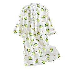 Świeże i naturalne kobiety koszula nocna awokado drukowane lato komfort z gazy bawełnianej bielizna nocna Kimono szlafrok luźna cienka kobieta Homewea