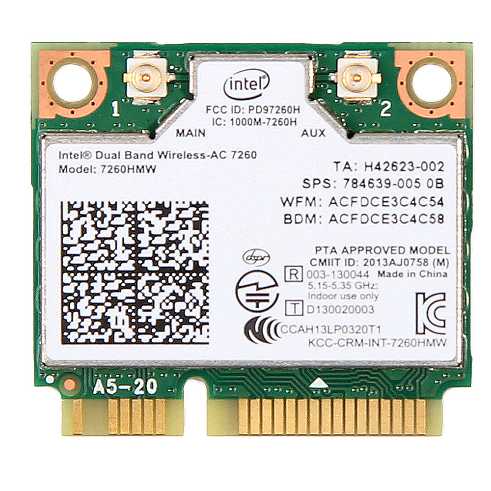Neue Dual Band Wireless-AC 7260 Intel 7260HMW 7260AC 2,4g/5 ghz 802.11ac MINI PCI-E 2x2 WiFi Karte + Bluetooth 4,0 Wlan Adapter