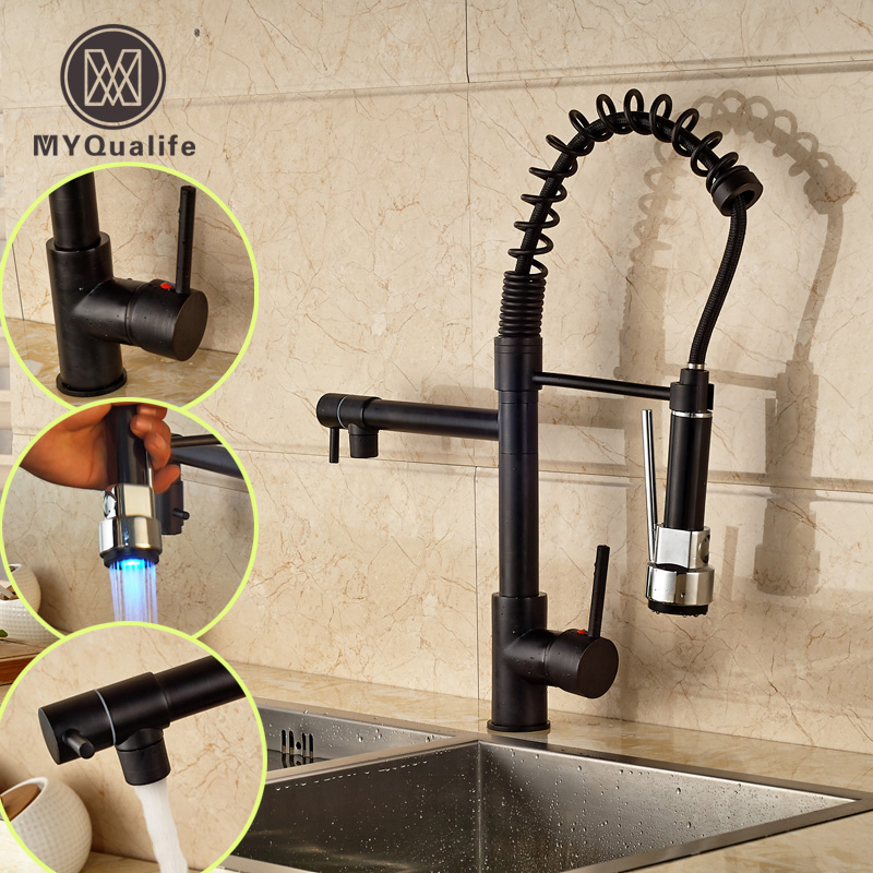 Oil Rubbed Bronze Pull Down Kitchen Sink Mixer Faucet Single Lever LED Light Dual Spout Hot and Cold Water Taps