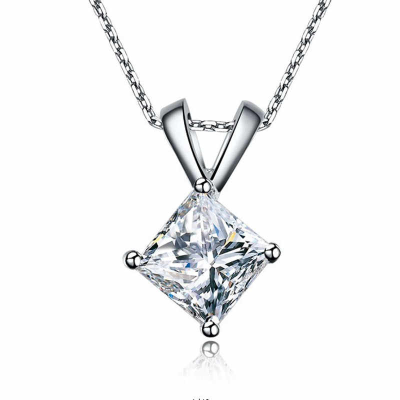 Great เจ้าหญิงตัด 2Ct 7X7 มม.G-H Moissanite Diamond จี้สัญญา Jewel CHARLES & COLVARD แท้ 925 สร้อยคอเงิน