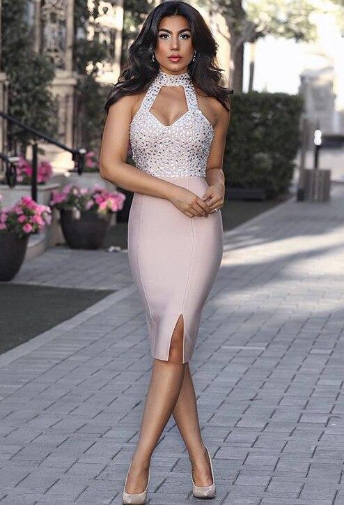 Высокое Качество Холтер хаки Бисер без рукавов Bodycon район Бандажное платье Вечеринка до колена летнее платье D-21