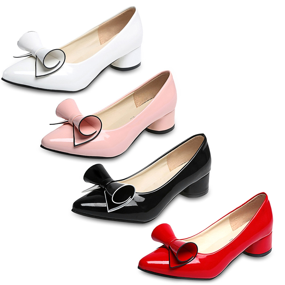 New 2017 Fashion Women Pump Fashionable Lady Pointed Toe Bowknot PU Leather Low Heel Shoes