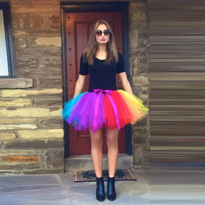 Hippie Style Colorful Tulle Tutu Skirt 45CM Ball Gown Mixed Color Adult Mini Skirt Lolita Faldas Saia Chic Beach Rainbow Skirts