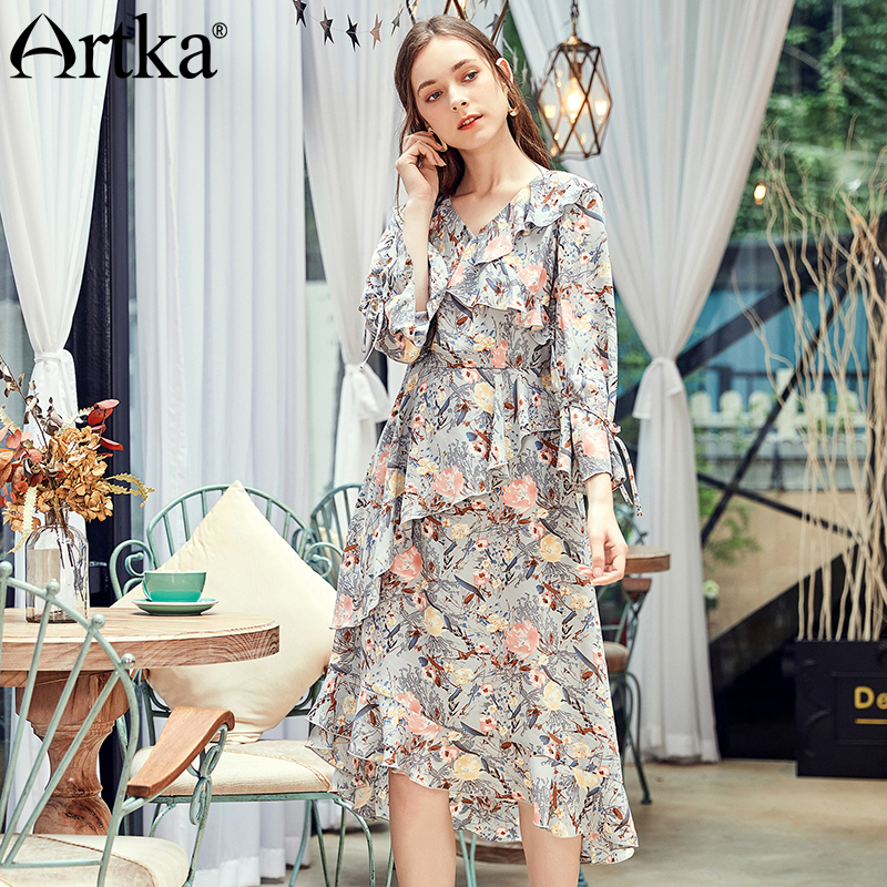 6bca6dc2e2 ARTKA 2018 Autumn New Women Vintage Ruffled V-neck Printed Long Lantern  Sleeves Irregular Long Chiffon Dress LA15083Q