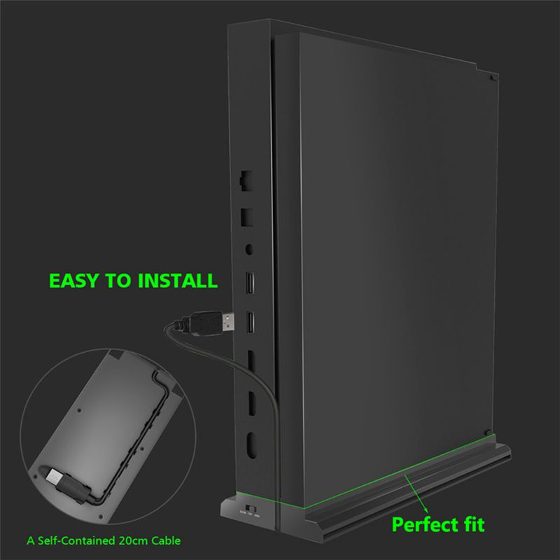 Vertical Stand With Cooling Fan For Xbox One X, Console Holder Cooler With 3 Usb Ports For Xbox One X Console