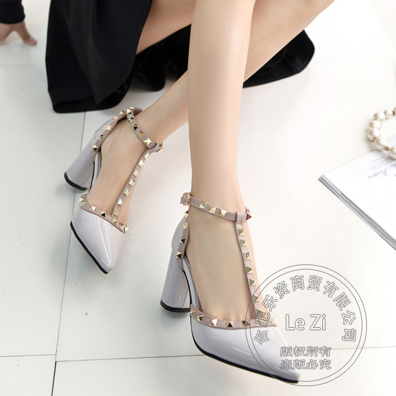 Nude Rivets Buckle Strap T Strap Leisure Square Heel Pu Leisure Various Thin High Heels Shoes