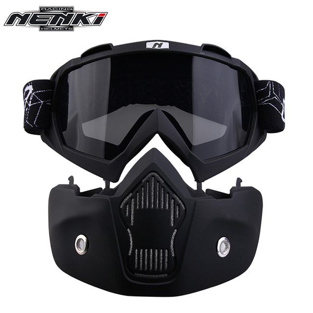 NENKI Men Women Modular Mask Removable Goggles and Mouth Filter for Modular Open Face Motorcycle Half Helmet or Vintage Helmets
