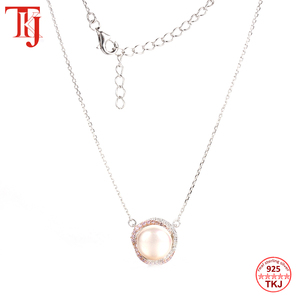 Image 3 - TKJ 100% 925 Sterling Silver Round Mother of Pearl Pendant Necklace Elegant Long Chain Women Pendant Necklace Fine Jewelry Gift