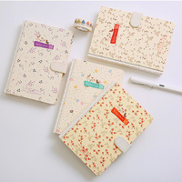 2017 1Pc Japan South Koren Creative Magnetic Floral Handbook Notebook Leather Paper Fresh Notepad Stationery Gift
