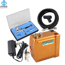 OPHIR Free shipping Golden Airbrush Mini  Air Compressor 0.3mm Dual-Action for Cake Decoration #AC003G+AC004+AC011