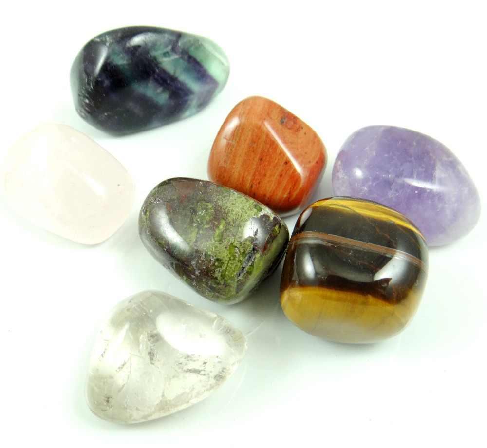 หินธรรมชาติ fluorite คริสตัล Tiger eye ลูกปัดหิน Chakra Healing Reiki จี้เครื่องประดับสร้อยคอ 7 PC