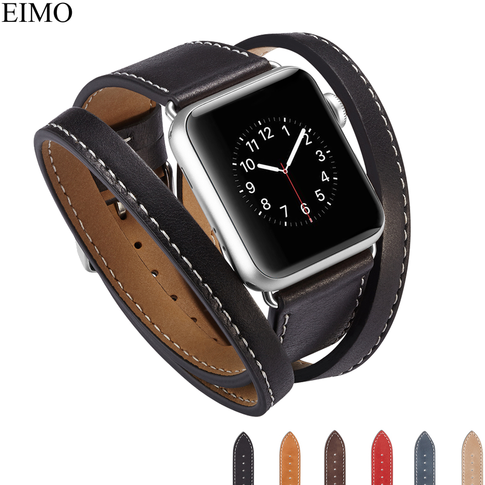 EIMO Genuine Leather Loop For Apple Watch Series 3 2 1 Iwatch Band 42mm 38mm Double Tour Bracelet Wrist Bands Accessories Strap fohuas series 2 1 genuine leather loop for apple watch band double tour 42mm for apple watch leather strap 38mm bracelet women