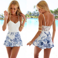 Sexy Deep V Neck Floral Patchwork Elegant Jumpsuit Romper Summer Style Beach Strap Short Playsuit Women