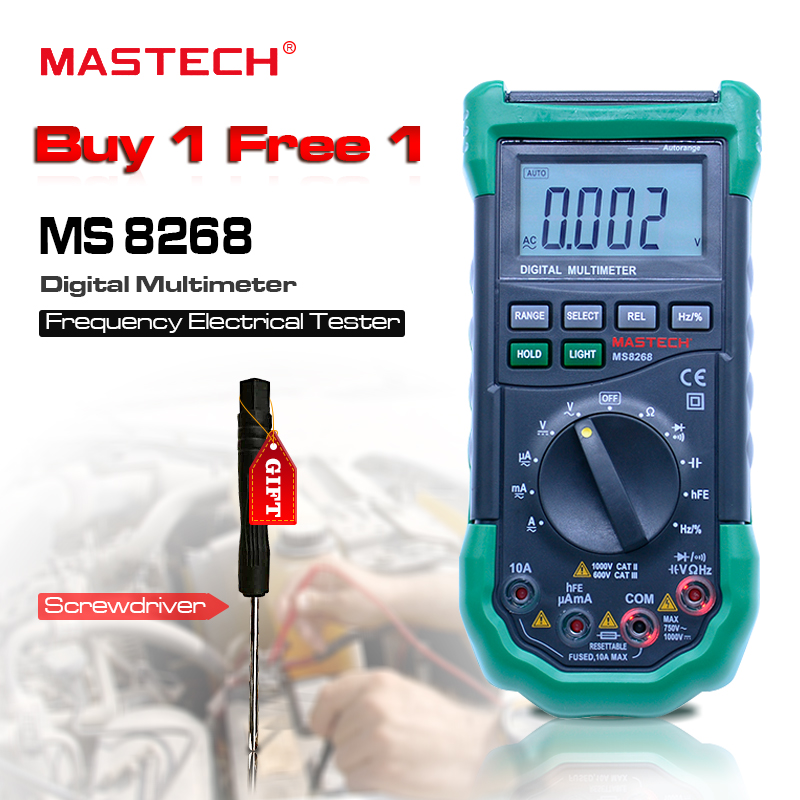 Digital Multimeter MASTECH MS8268 Auto Range Full protection ac/dc ammeter voltmeter ohm Frequency electrical tester Multitester an8009 auto range lcd digital multimeter full protection ac dc voltmeter ammeter ohm capacitance ncv electrical tester